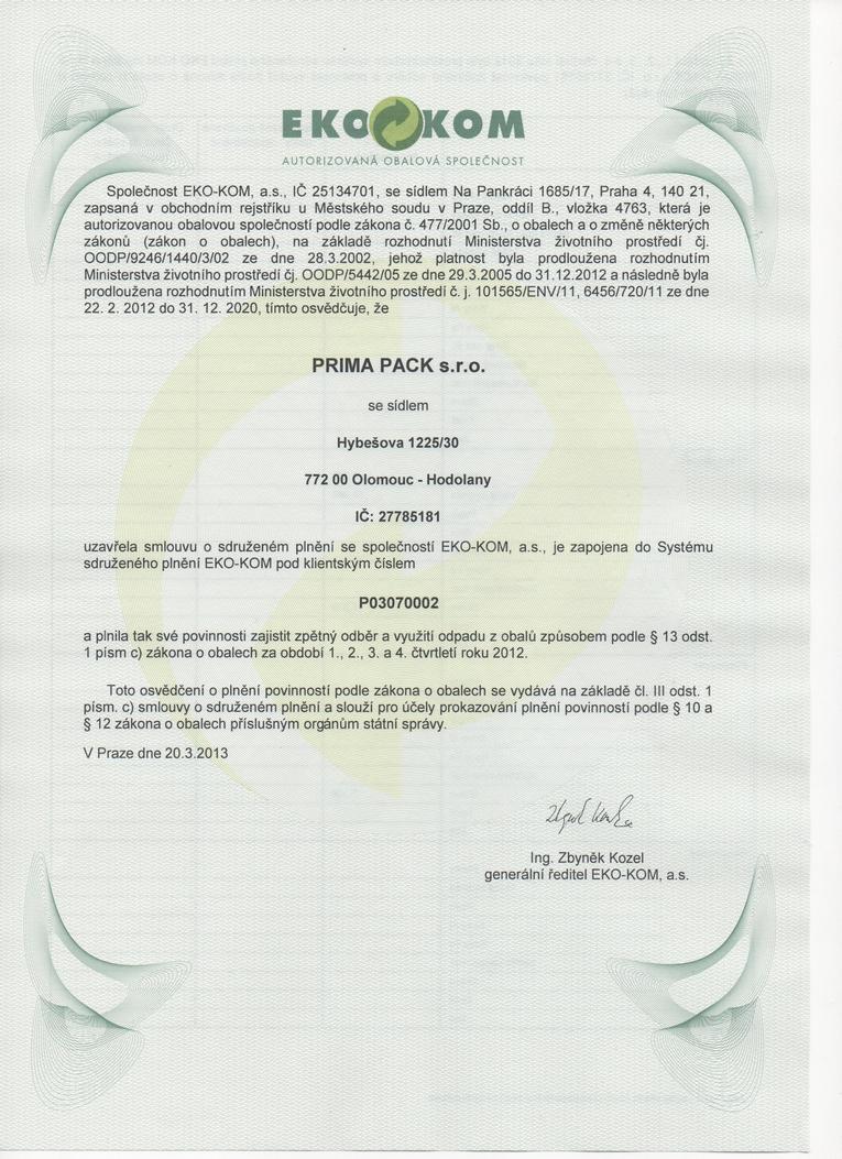 Potvrzení o smlouvě Ekokom
