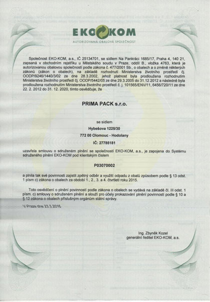 Potvrzení o smlouvě Ekokom za 2015
